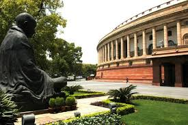 Indian parliament with Mahatma Gandhi